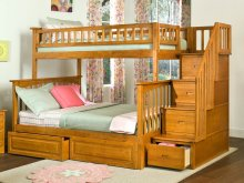 Columbia Staircase Bunk Bed Twin over Full with Raised Panel Bed Drawers in Caramel Latte