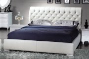 White Leatherette Modern Bed Product Image