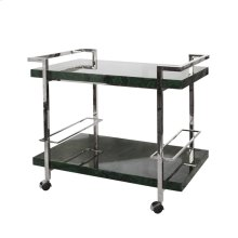 Bar Cart With Nickel Frame and Malachite Tiers
