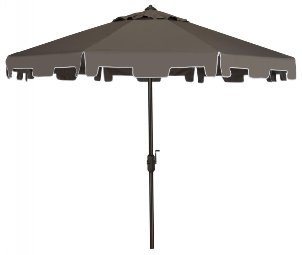Zimmerman 9 Ft Crank Market Umbrella With Flap - Grey