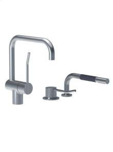 One-handle mixer with long lever and ceramic disc technology, double swivel spout with water saving aerator, one-handle mixer 500 with long lever and hand shower T1 - Grey