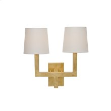 Gold Leaf 2 Arm Sconce With White Linen Shades