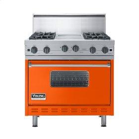 """Pumpkin 36"""" Open Burner Commercial Depth Range - VGRC (36"""" wide, four burners 12"""" wide griddle/simmer plate)"""