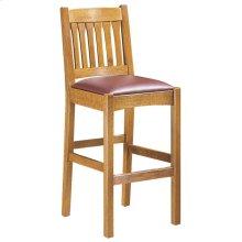 Bar Stool Slat Back Seat Height 30, Oak Stool