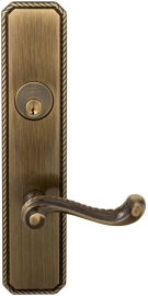 Exterior Traditional Mortise Entrance Lever Lockset with Plates in (SB Shaded Bronze, Lacquered) Product Image