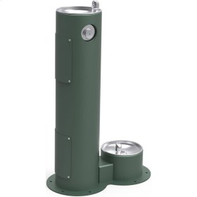 Elkay Outdoor Fountain Pedestal with Pet Station, Non-Filtered Non-Refrigerated, Freeze Resistant, Evergreen