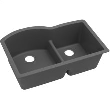 "Elkay Quartz Classic 33"" x 22"" x 10"", Offset 60/40 Double Bowl Undermount Sink with Aqua Divide, Dusk Gray"