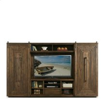 Modern Gatherings Entertainment Console Brushed Acacia finish