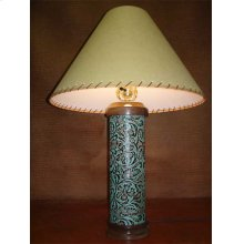 Turquoise Leather Table Lamp