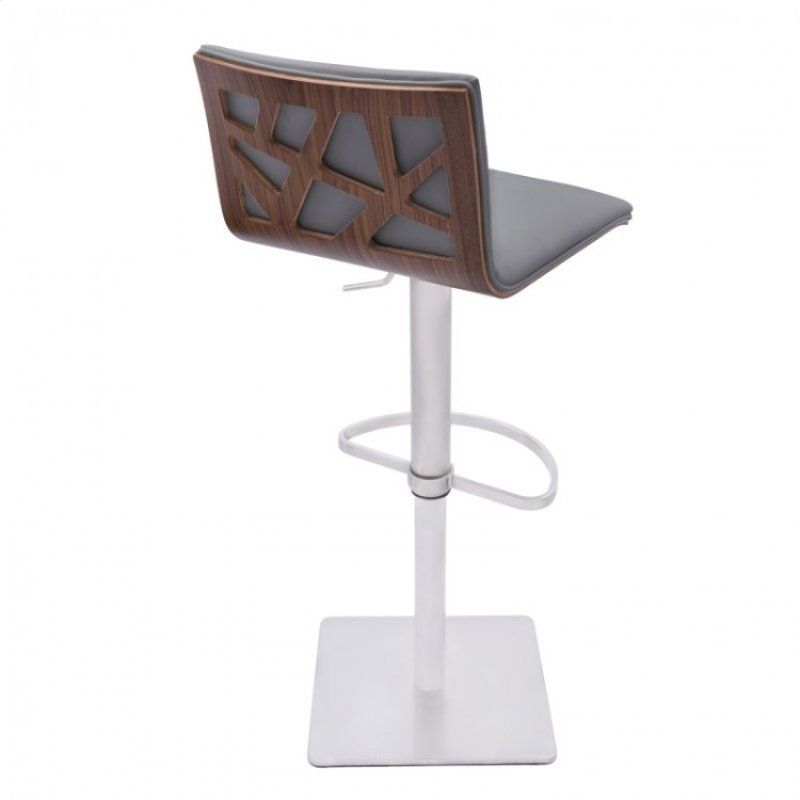 Armen Living Crystal Barstool In Brushed Steel Finish With Gray Pu Upholstery And Walnut Back