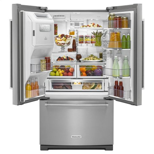 26.8 cu. ft. 36-Inch Width Standard Depth French Door Refrigerator with Exterior Ice and Water - Stainless Steel with PrintShield™ Finish