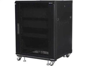 """Black 34"""" Tall AV Rack 15U Component rack for home theater equipment"""