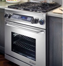 """Epicure 30"""" Free-Standing Range, in Stainless Steel with Chrome Trim"""