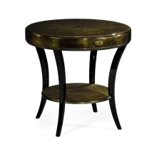 Dark Bronze Round Side Table with Drawer
