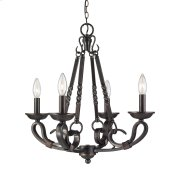 Navarro 4 Light Chandelier in Aged Bronze