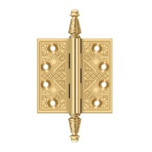 """3 1/2""""x 3 1/2"""" Square Hinges - PVD Polished Brass"""