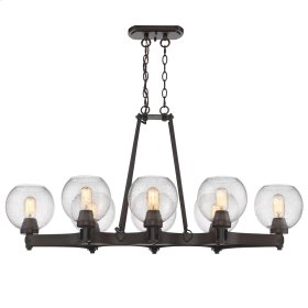 Galveston 8 Light Linear Pendant in Rubbed Bronze with Seeded Glass