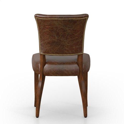 Biker Tan Cover Antique Oak Finish Mimi Dining Chair