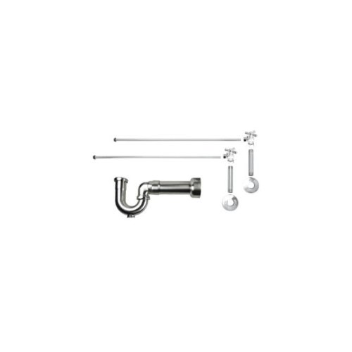 "Lavatory Supply Kit w/ Massachusetts P-Trap - Angle - Mini Cross Handle - 1/2"" Female IPS Inlet x 3/8"" O.D. Compression Outlet - Brushed Nickel"
