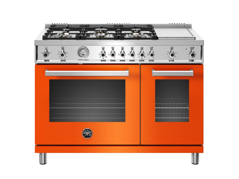 Bertazzoni 48 Inch All Gas Range 6 Br Burner And Griddle Orange