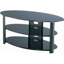 "3-tier TV Stand, Black Chrome/black Glass, 50""lx20""wx23""h"