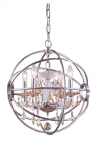 "1130 Geneva Collection Chandelier D:17"" H:19.5"" Lt:4 Polished nickel Finish (Royal Cut Golden Teak Crystals) Product Image"