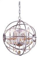 """1130 Geneva Collection Chandelier D:17"""" H:19.5"""" Lt:4 Polished nickel Finish (Royal Cut Golden Teak Crystals) Product Image"""