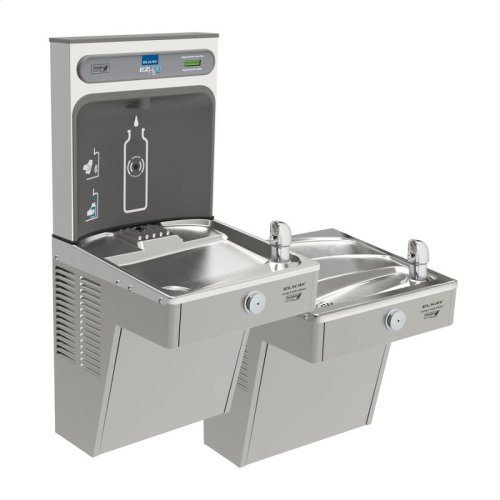 Elkay EZH2O Bottle Filling Station, & Bi-Level High Efficiency Vandal-Resistant Cooler, Non-Filtered 8 GPH Stainless