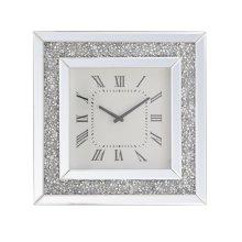 20 inch Square Crystal Wall Clock Silver Royal Cut Crystal