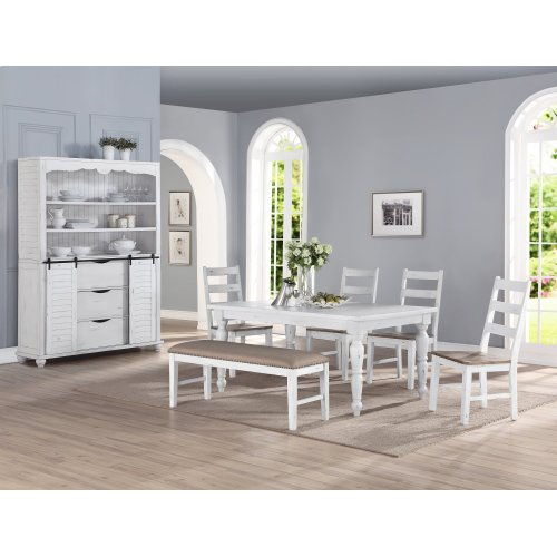 Emerald Home Abaco Upholstered Dining Bench-country White Finish W/brown Fabric Seat D848-36
