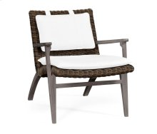 Grey & Rattan Lounge Chair, Upholstered in Standard Outdoor Fabric