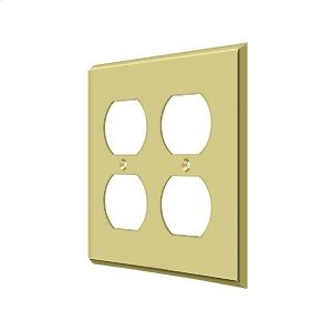 Switch Plate, Quadruple Outlet - Polished Brass