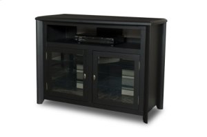 """50"""" Wide Hi-boy Credenza, Solid Wood and Veneer In A Black Finish, Accommodates Most 55"""" and Smaller Flat Panels - No Tools Required"""