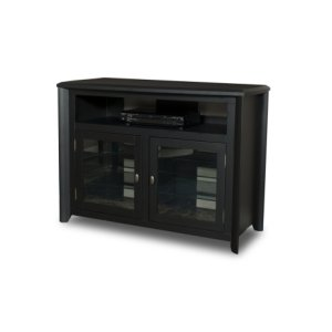 "50"" Wide Hi-boy Credenza, Solid Wood and Veneer In A Black Finish, Accommodates Most 55"" and Smaller Flat Panels - No Tools Required"