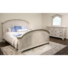 Aberdeen - King Reeded Headboard - Weathered Worn White Finish