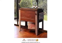 Cooler w/wooden shelf at the bottom, 2 Iron Casters, 2 handles that double as towel hangers, 1 heavy-duty bottle opener.