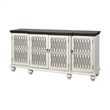Hartford 4-door Cabinet With Middle Shelf In White With Dark Top