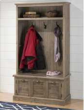 Reclaimed Pine Hall Tree Top W/shelf, Hooks and Waxed Finish - Assembled