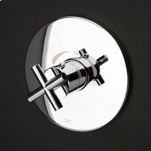 Built-in thermostatic valve with a cross handle and round backplate.