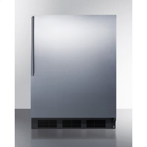 SummitADA Compliant Built-in Undercounter All-refrigerator for General Purpose Use, Auto Defrost W/ss Wrapped Door, Thin Handle, and Black Cabinet