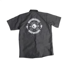 Black Button Down Camp Shirt w/ White RF Graphic-M