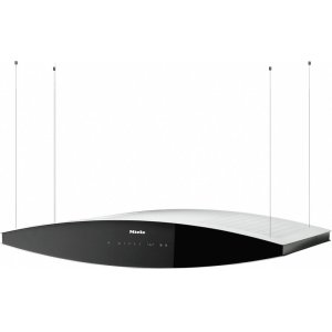 MieleDA 7000 D Aura AM Island d(eback)cor hood with dimmable halogen lighting and touch controls for convenient operation.