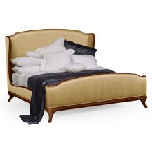 Cali King Louis XV Walnut Bed, Upholstered in Muscatelle Silk