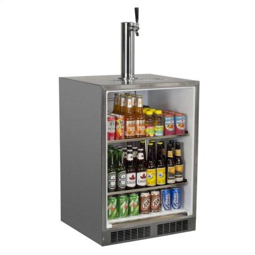"""Outdoor 24"""" Single Tap Built In Beer Dispenser - Marvel Refrigeration - Solid Black Door, Stainless Handle Twin Tap - Left Hinge"""