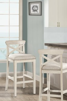Bayview Wood X-back Non-swivel Bar Stool - White Wirebrush - 2 Stools Per Ctn
