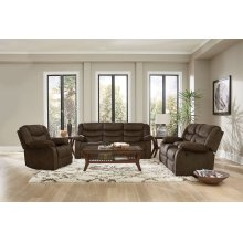Manual Motion Dark Brown Console Loveseat