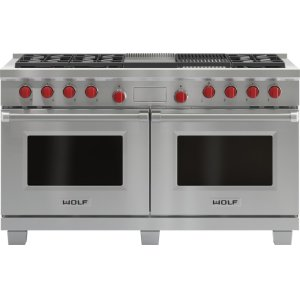 """Wolf60"""" Dual Fuel Range - 6 Burners, Infrared Charbroiler and Infrared Griddle"""