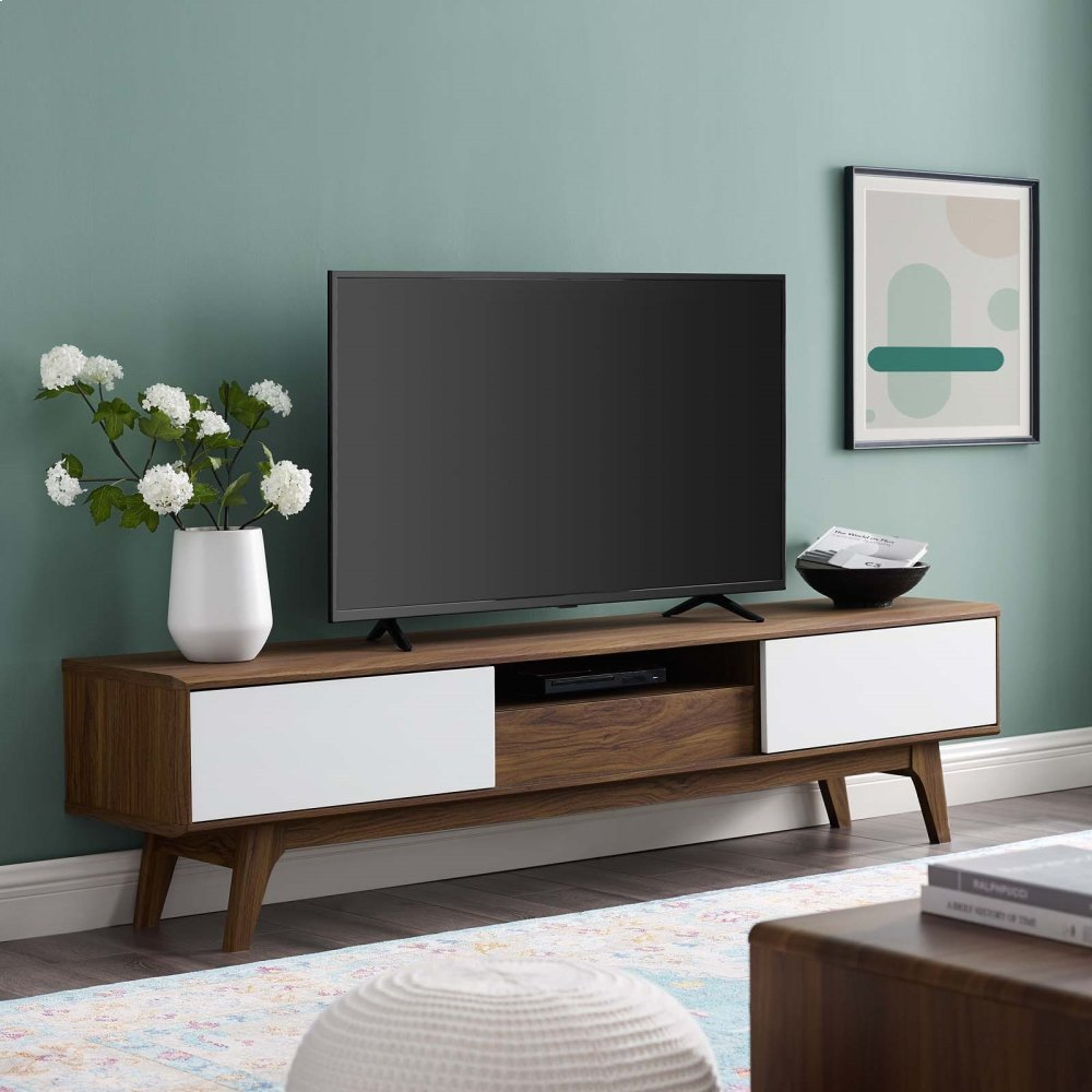 """Envision 70"""" Media Console Wood TV Stand in Walnut White"""