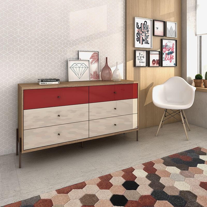 """Joy 59"""" Wide Double Dresser with 6 Full Extension Drawers in Red and Off White"""