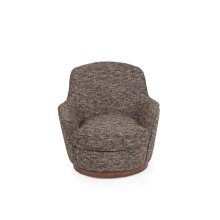SU-1705-93-871885  Heathered Black Brown Soft Tweed Swivel Chair  Low Back  T Cushion